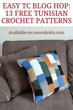 This is a super easy Tunisian crochet pillow designed by Janine from that can be made with a regular crochet hook. It's the perfect stash busting project to spruce up any room in your home! Crochet Pillow Patterns Free, Tunisian Crochet Patterns, Crochet Patterns For Beginners, Free Pattern, Knitting Tutorials, Crochet Granny, Stitch Patterns, Knitting Patterns, Form Crochet