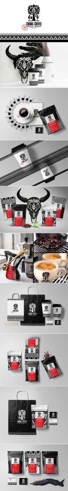 Tribal Coffee branding and packaging by olena fedorova graphic design studio Brand Identity Design, Graphic Design Branding, Corporate Design, Coffee Shop Branding, Coffee Packaging, Brand Packaging, Packaging Design, Letterhead Design, Branding Agency