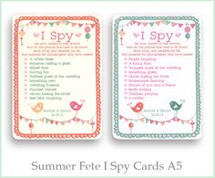 Summer fete I spy cards, a lovely idea for wedding stationery, some fun for you guests! www.wearetickledpink.co.uk