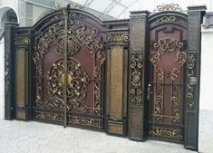 A gate or gateway is a point of entry to space which is enclosed by walls. Gates may prevent or control the entry or exit of individuals, or they may be Grill Gate Design, Iron Gate Design, Fence Design, Door Design, House Balcony Design, House Main Gates Design, House Design, Gate Designs Modern, Entrance Ways