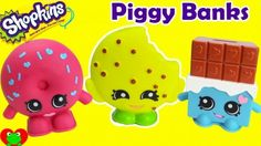 Shopkins Piggy Banks with Cheeky Chocolate, Kooky Cookie, and D'lish Donut.