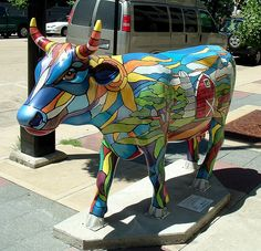 """Windows of Wisconsin"" Cow at the Cow Parade in Madison, Wisconsin - photo by Clarissa Peterson, via Flickr"