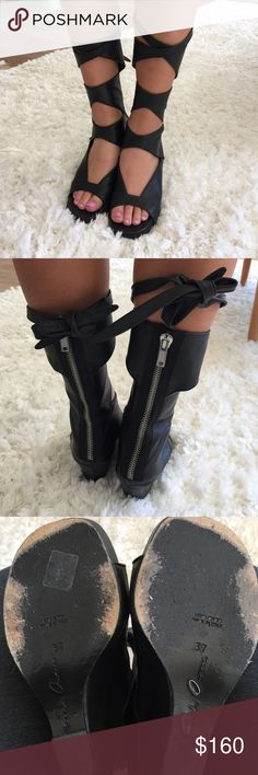 Authentic Rick Owens Gladiator Sandals sz37 Rick Owens black lace-up sandals in great condition. Just not my style but awesome fierce shoes. Size 37 Rick Owens Shoes