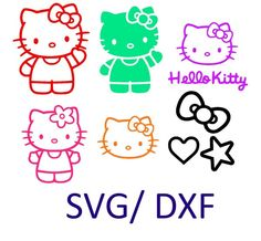 hello kitty inspired SVG and DXF Cut File for Silhouette and Cricut machines, instant download, digital files by OhThisDigitalFun on Etsy https://www.etsy.com/listing/253725412/hello-kitty-inspired-svg-and-dxf-cut
