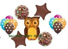 OWL PARTY SUPPLIES birthday girl balloons chocolate pink polka dot decoration