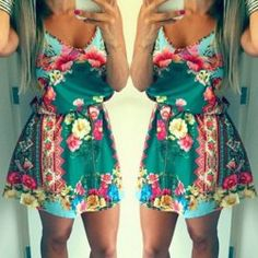 Sexy Plunging Neck Sleeveless Floral Print Loose-Fitting Women's Dress