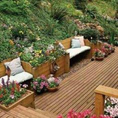Home Landscape Sloping Backyard With Deck , Sloped Backyard Home Landscape In Landscaping And Outdoor Building Category