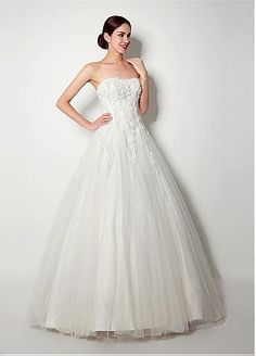 In Stock Charming Tulle Strapless Neckline A-Line Wedding Dresses With Beaded Lace Appliques
