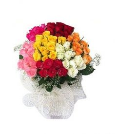 Five dozen mixed color roses in round Bouquet. Mixed colors like red, Yellow, Pink, White etc. Philippine Flowers and Gifts Delivery Door to Door