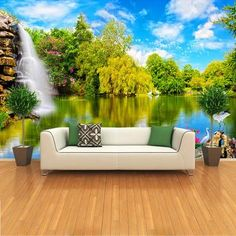 Custom photo wallpaper embossed wallpaper for living room TV background wall paper papel de parede Landscape Waterfall 3d Wallpaper Mural, Dining Room Wallpaper, 3d Wall Murals, Cheap Wallpaper, Bedroom Murals, Landscape Wallpaper, Home Wallpaper, Wallpaper Roll, Wall Painting Living Room
