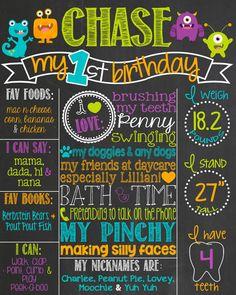 Monster Theme Birthday Chalkboard Poster // First Birthday Chalkboard Sign // Custom Printable // Boy // Monsters // Birthday Board by PersonalizedChalk