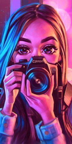 Drawings-Dibujos Sees it - Girl Iphone Wallpaper, Cute Girl Wallpaper, Cute Disney Wallpaper, Cute Cartoon Wallpapers, Iphone Wallpapers, Galaxy Wallpaper, Camera Wallpaper, Wallpaper Backgrounds, Screensaver Iphone