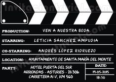 Invitación de boda personalizable basada en una claqueta de cine (claqueta cerrada).  Uno, dos, tres... Acción!!!