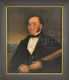 A wonderful oil on panel portrait of a century sea captain holding a telescope, unsigned, dated center left The painting has two small Middle Aged Man, A Sea, Sea Captain, Telescope, Oil On Canvas, Gentleman, 19th Century, Military Uniforms, Sailboats