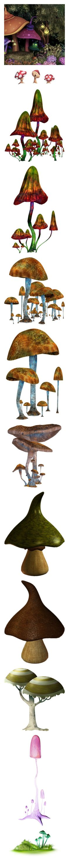 """Mushrooms 00 (Under Construction)"" by kelsjax ❤ liked on Polyvore featuring art background, backgrounds, mushrooms, illustrations, nature, trees, plants, alice, pictures and wonderland"
