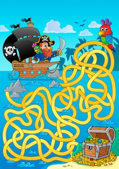 Dot to Dot Printables - Best Coloring Pages For Kids Pirate Activities, Halloween Activities For Kids, Pirate Illustration, Mazes For Kids, Printable Board Games, Maze Puzzles, Maze Game, Pirate Treasure, Christmas Drawing