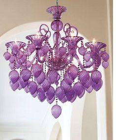 Retro Glamour-❤️ the purple The Purple, Purple Stuff, All Things Purple, Purple Glass, Shades Of Purple, Light Purple, Magenta, Purple Chandelier, Chandelier Pendant Lights