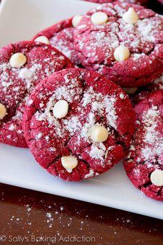 Red Velvet Cake Mix Crinkle Cookies. Easy recipe at sallysbakingaddiction.com