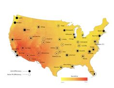 This map, from startup Energy Points, compares the efficiency of the local grid to the average efficiency of #solar, effectively showing where PV makes the most sense.