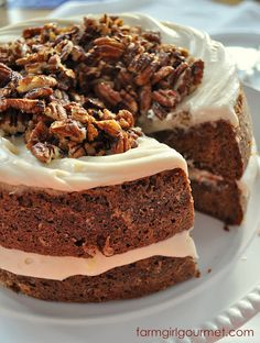 Caramelized Apple Spice Cake with Brie Icing & Sugared Pecans
