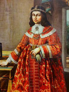 Detail of portrait of Helena Opalińska née Zebrzydowska by Anonymous from Poland, Kalwaria Zebrzydowska Monastery. 17th Century Fashion, Baroque Painting, Period Outfit, Female Portrait, Wikimedia Commons, Poland, Renaissance, Sari, Costumes