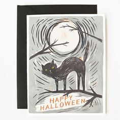 Black Cat Halloween Card 1pc by QuillandFox on Etsy