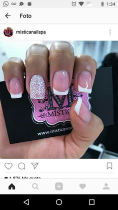 Love Nails, How To Do Nails, Fun Nails, Pretty Nails, Gel Nail Designs, Manicure And Pedicure, White Nails, Nail Inspo, Beauty Nails
