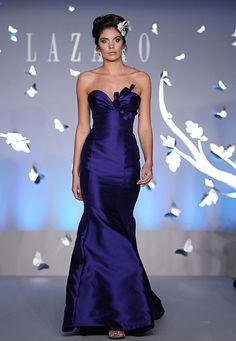 """""""Elegant Dark Purple Bridesmaid Dress – Spring 2012 Collection by Lazaro"""" I'd want it shorter for the girls though"""