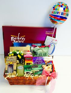 30th Birthday Gift Basket For Her With A Balloon Selection Of Biscuits And Pampering