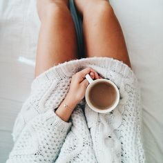 chunky sweaters and cups of coffee