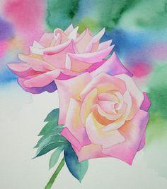 Watercolor Paintings | Watercolor Rose Painting Tutorial Step by Step