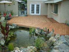 outdoor deck and koi pond