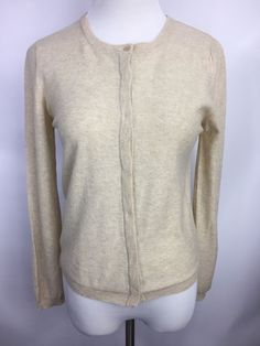 Brunello Cucinelli Womens Cardigan 100% Cashmere Sweater Beige Sz S #BrunelloCucinelli #Cardigan