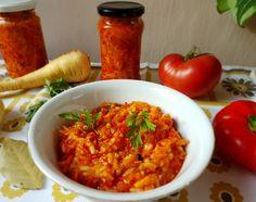 Reteta culinara Tocana de legume cu orez, pentru la iarna cand e ger din categoria Conserve. Specific Romania. Cum sa faci Tocana de legume cu orez, pentru la iarna cand e ger Risotto, Shrimp, Grains, Rice, Chicken, Meat, Cooking, Ethnic Recipes, Food