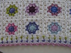 Pretty edging - Lucy's Summer Garden granny square, edged with block stitch & a last round of picots.  #crochet #granny_square #edging
