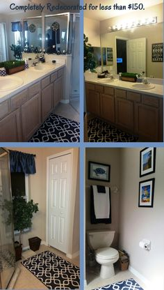 I just COMPLETEY redecorated my bathroom, going with a blue and white color scheme. Everything was purchased on sale, from rugs to towels and every last thing (with the exception of the book rack) is new. All for less than $150. See the link for info on how I finally got my shower doors clean!