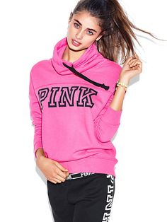 Cowl-Neck Pullover PINK JH-330-700 Cozy fit with a soft, slouchy neckline—our newest pullover is made for snuggling up. Must-have sweats by Victoria's Secret PINK. Relaxed, easy fit Drawstring cowl neck Print graphics Soft, light & textured French terry Imported cotton/polyester
