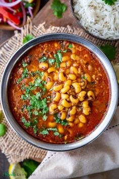 Lobia masala is a North Indian style black-eyed peas curry made in a spiced onion tomato gravy. It pairs well with rice, chapati, and even paratha.Here is how to make this easy and delicious Punjabi Lobia Curry recipe using the Instant Pot, pressure cooker (stovetop) method. #beans #curry #Indianfood #vegan #glutenfree Vegan Entree Recipes, Curry Recipes, Vegan Dinners, Lunch Recipes, Indian Food Recipes, Crockpot Recipes, Soup Recipes, Healthy Recipes, Ethnic Recipes
