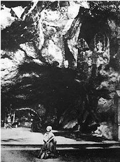 St Bernadette at prayer in Lourdes