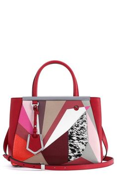 "Free shipping and returns on Fendi 'Petite 2Jours - Bird' Leather Shopper at Nordstrom.com. <p><B STYLE=""COLOR:#990000"">Pre-order this style today! Add to Shopping Bag to view approximate ship date. You'll be charged only when your item ships.</b></p><br>A runway-fresh avian aesthetic from Fendi's Resort 2015 collection adds instant street-style cred to an iconic Italian shopper that steals the scene with mixed-media color blocking, an enameled cone-stud eye and unmistakable logo hardware along the topline."