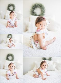 Ayla A milestone baby session Renee Ash Photography 6 Month Baby Picture Ideas, Baby Girl Pictures, Newborn Pictures, Family Pictures, Baby Girl Photography, Children Photography, Indoor Photography, 6 Month Photography, Photography Poses