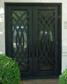 Grill Gate Design, Front Gate Design, Double Door Design, Window Grill Design, Door Gate Design, Main Door Design, Wrought Iron Security Doors, Wrought Iron Doors, Iron Front Door