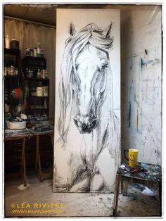 Drawing by Léa Rivière Horse Drawings, Art Drawings, Arte Equina, Urbane Kunst, Horse Artwork, Equine Art, Animal Paintings, Pastel Paintings, Watercolor Paintings