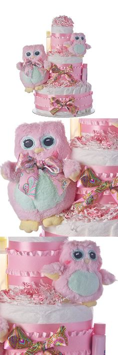 Diaper Cake - Two Owls Theme Handmade By Lil Baby Cakes - Gift for Baby Girl- Makes a Great Baby Shower Centerpiece