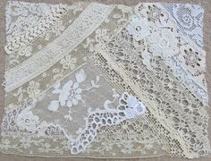 Vintage & Antique Lace Collage, No. 16 ... Embellishment for crazy quilting, heirloom sewing, fabric art, journals, assemblage, multi media