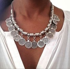 Boho coin necklace New with tags! Beautiful silver coin necklace, linked adjustable length chain and lobster closure, can wear close to the neck or lower depending on preference. Silver Jewelry Box, Coin Jewelry, Ethnic Jewelry, Bohemian Jewelry, Silver Necklaces, Jewelry Necklaces, Silver Earrings, Silver Ring, Jewellery
