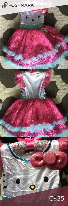 HELLO KITTY GIRLS WIG Child Dressup Halloween White Hair Pink Bow Bob Cute NEW