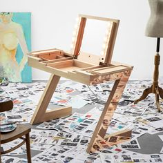 """Extraordinary dressing table with folding mirror and make-up lights - a convertible vanity table that changes into a """"regular"""" desk. Here shown in waxed oak wood and rose gold copper."""