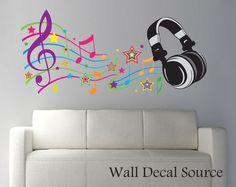 Headphones Wall Decal - Modern Music Vinyl Art Stickers
