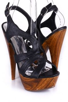 Black Strap Wooden Platform Heels.   Add these to your collection for only $12.99!!!